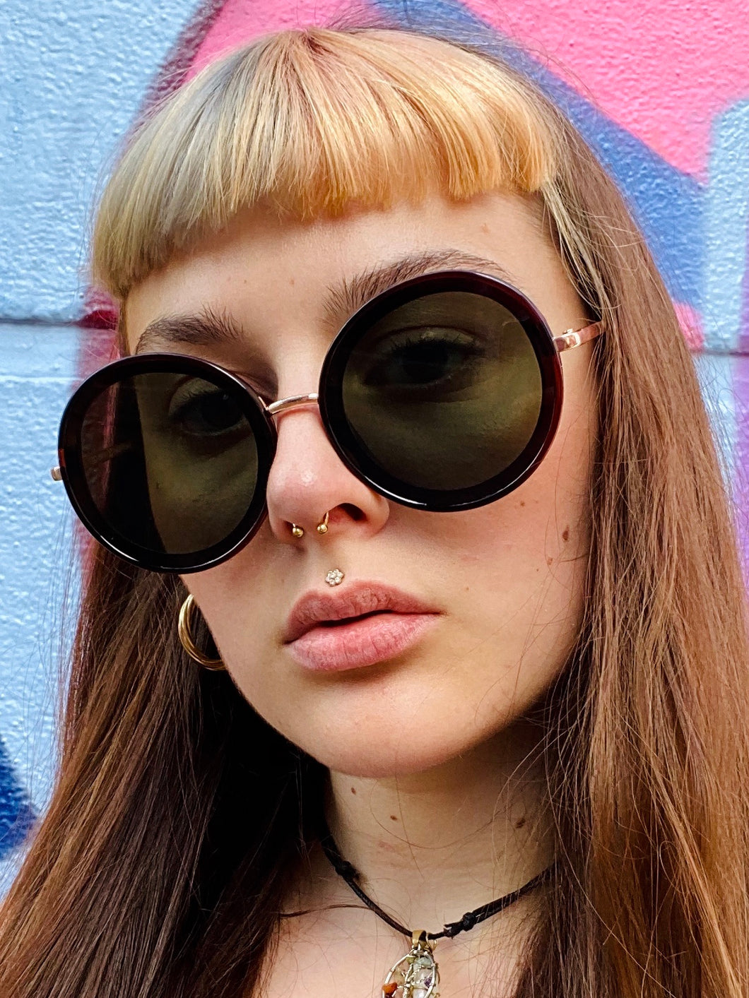 Vintage Inspired Sunglasses Big Round Shape in Dark Brown with UV400