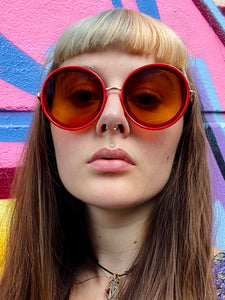 Vintage Inspired Sunglasses Big Round Shape in Red with UV400