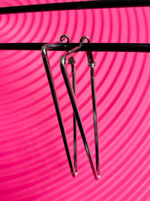 Load image into Gallery viewer, Vintage Inspired Earrings Hoops in Triangle Shape in Silver Colour