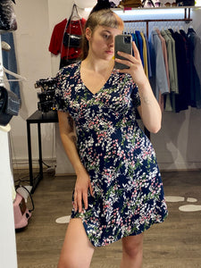 Vintage Inspired Dress with Floral Print in Navy Blue Sizes XS-XL