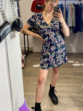 Load image into Gallery viewer, Vintage Inspired Dress with Floral Print in Navy Blue Sizes XS-XL