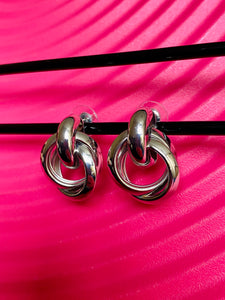 Vintage Inspired Earrings in Irregular Circle Shape in Silver