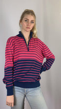 Load and play video in Gallery viewer, Vintage Fred Perry 1/4 Zip Knit Sweater in Pink in Size M