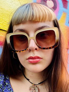 Vintage Inspired Sunglasses Square Shape in Cream Brown with UV400