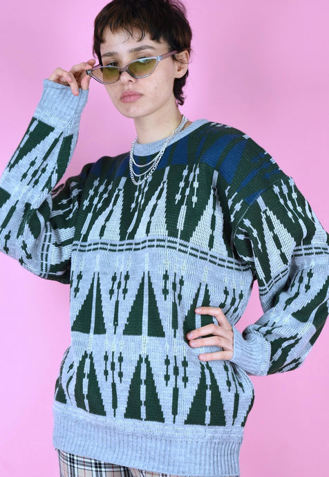 Vintage 90s Knit Jumper Graphic Pattern Grey Green Blue in M