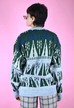 Load image into Gallery viewer, Vintage 90s Knit Jumper Graphic Pattern Grey Green Blue in M