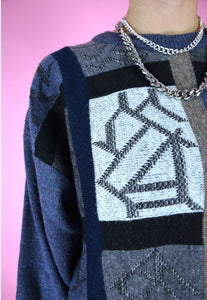 Vintage 90s Knit Jumper Graphic Pattern Blue Grey White in M