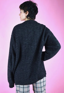 Vintage 90s Knit Jumper Graphic Pattern in Grey Brown Blue in M/L