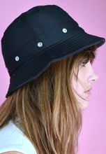 Load image into Gallery viewer, 90s Bucket Hat Vintage Inspired in Dark Blue Eyelets Detail
