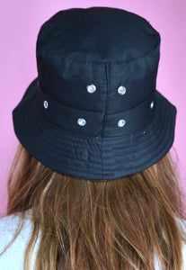 90s Bucket Hat Vintage Inspired in Dark Blue Eyelets Detail