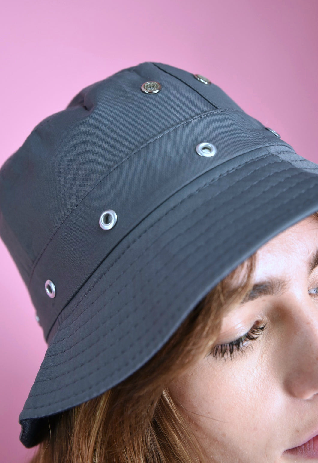 90s Bucket Hat Vintage Inspired in Grey Eyelets Detail