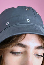 Load image into Gallery viewer, 90s Bucket Hat Vintage Inspired in Grey Eyelets Detail