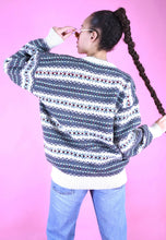 Load image into Gallery viewer, Vintage 90s Knit Jumper Zig Zag Geometric Blue White Pattern in M