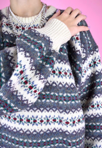 Vintage 90s Knit Jumper Zig Zag Geometric Blue White Pattern in M