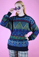 Load image into Gallery viewer, Vintage 90s Knit Jumper Geometric Pattern Blue Green in M/L