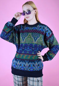 Vintage 90s Knit Jumper Geometric Pattern Blue Green in M/L