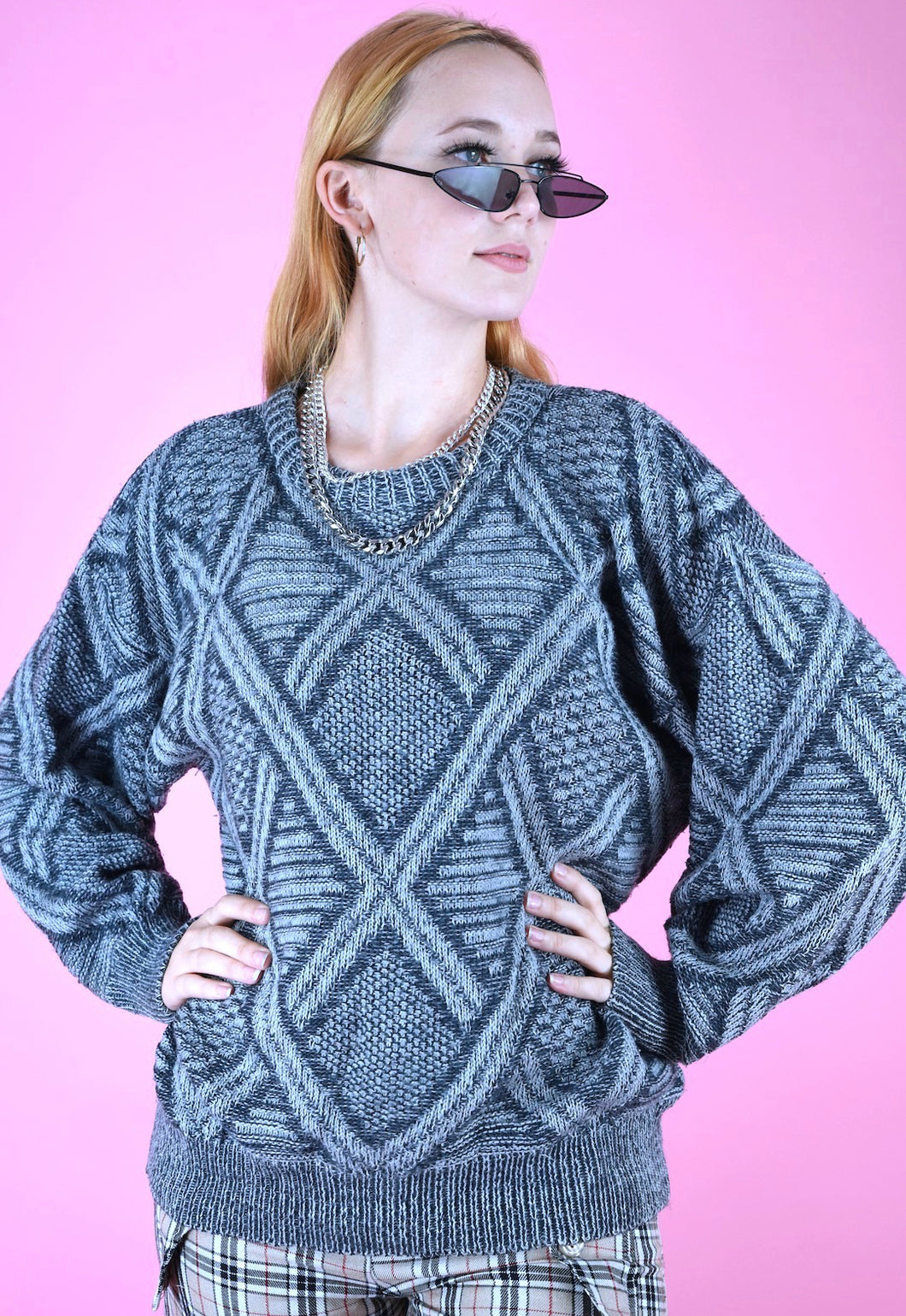 Vintage 90s Knit Jumper Geometric Pattern Blue Grey in M/L