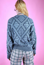 Load image into Gallery viewer, Vintage 90s Knit Jumper Geometric Pattern Blue Grey in M/L
