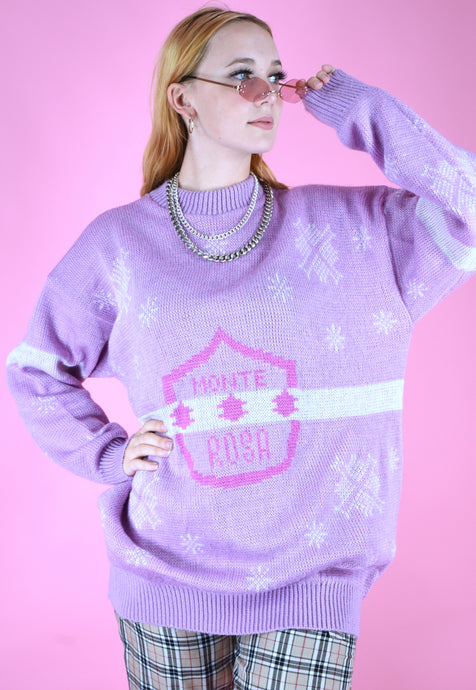 Vintage 90s Knit Jumper Christmas Snowflake Pink in M/L