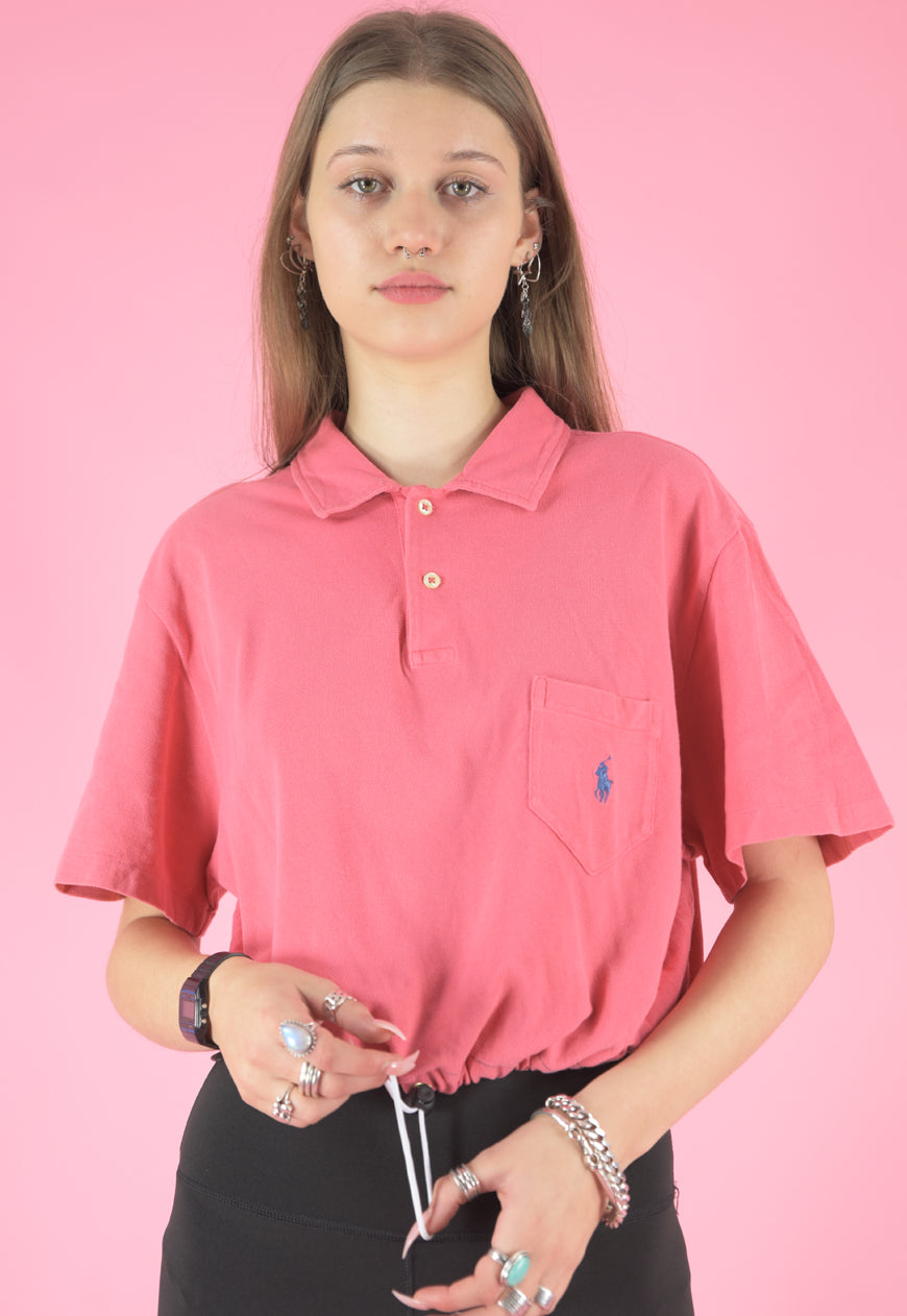 Vintage 90s Reworked Ralph Lauren Crop Top Polo Shirt Pink in M