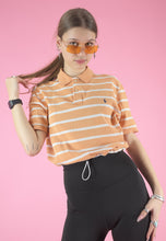 Load image into Gallery viewer, Vintage 90s Reworked Ralph Lauren Crop Top Polo Shirt Orange White Striped in S