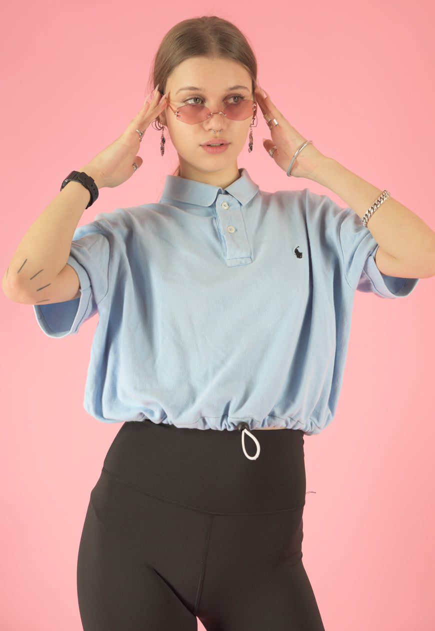 Vintage 90s Reworked Ralph Lauren Crop Top Polo Shirt Blue in S