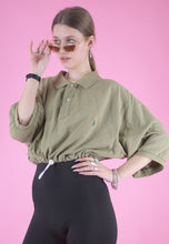 Load image into Gallery viewer, Vintage Reworked Ralph Lauren Crop Top Polo Shirt in Green in L