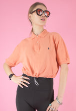 Load image into Gallery viewer, Vintage Reworked Ralph Lauren Crop Top Polo Shirt in Peach in S/M