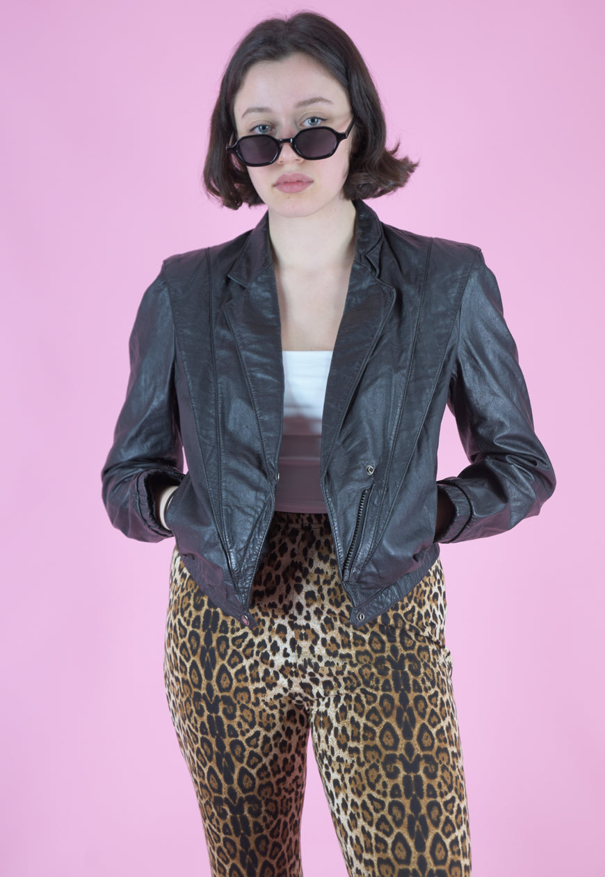Vintage 80s Leather Jacket Cropped in Black with Zipper in S