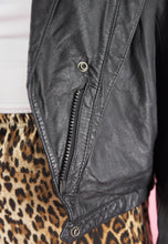 Load image into Gallery viewer, Vintage 80s Leather Jacket Cropped in Black with Zipper in S