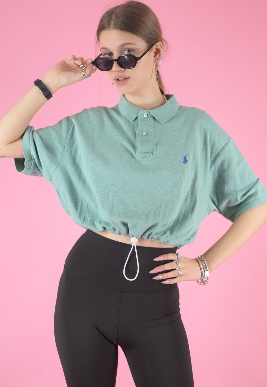 Vintage Reworked Ralph Lauren Crop Top Polo in Mint Green in M