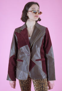 Vintage Leather Jacket Trench Blazer with Burgundy Patchwork in M