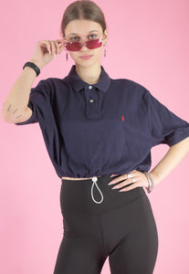 Vintage Reworked Ralph Lauren Crop Top Polo Shirt in Navy in S