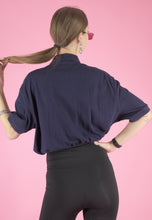Load image into Gallery viewer, Vintage Reworked Ralph Lauren Crop Top Polo Shirt in Navy in S