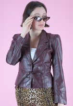 Load image into Gallery viewer, Vintage 80s Leather Jacket in Maroon with Tied Waist in S