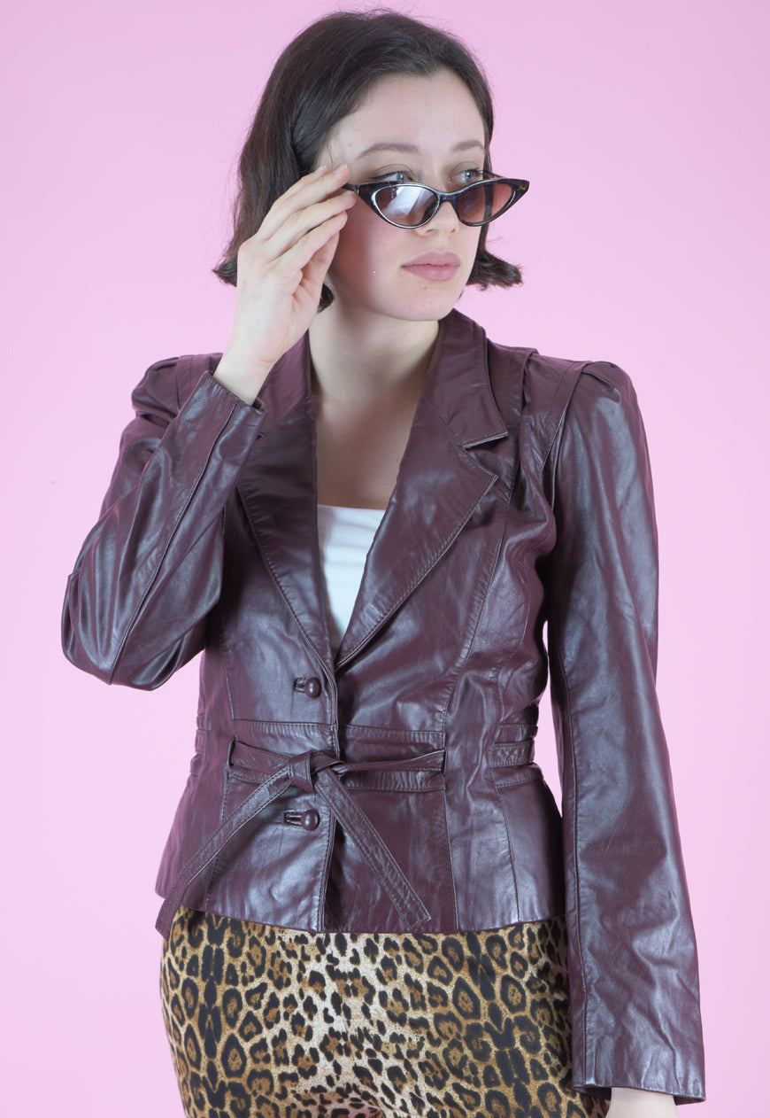 Vintage 80s Leather Jacket in Maroon with Tied Waist in S