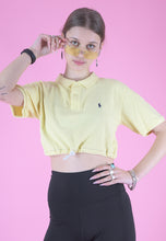 Load image into Gallery viewer, Vintage Reworked Ralph Lauren Crop Top Polo Shirt in Yellow in S