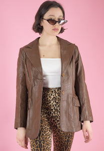 Vintage Leather Jacket Trench Coat in Brown in S/M