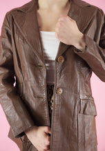 Load image into Gallery viewer, Vintage Leather Jacket Trench Coat in Brown in S/M