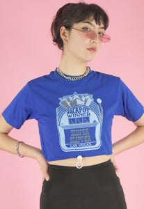 Vintage Reworked Cropped T-Shirt in Blue with Graphic Print in S