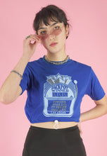 Load image into Gallery viewer, Vintage Reworked Cropped T-Shirt in Blue with Graphic Print in S