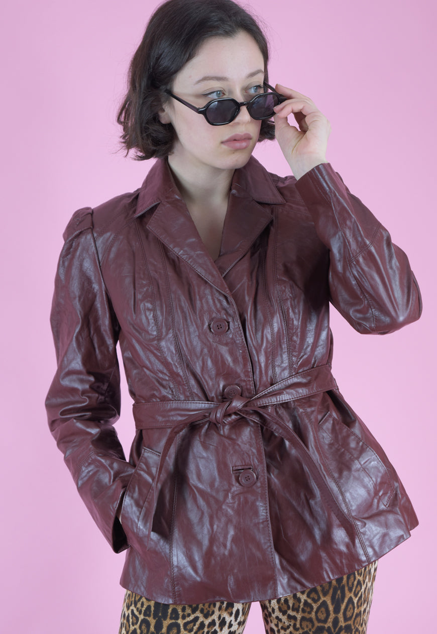 Vintage Leather Jacket Trench Coat in Red Brown with Belt in M