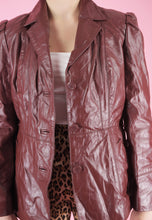 Load image into Gallery viewer, Vintage Leather Jacket Trench Coat in Red Brown with Belt in M