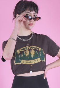 Vintage Reworked Crop T-Shirt in Brown with Crosslake Print in S