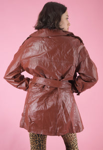 Vintage Leather Jacket Trench Coat in Brown with Belt in L