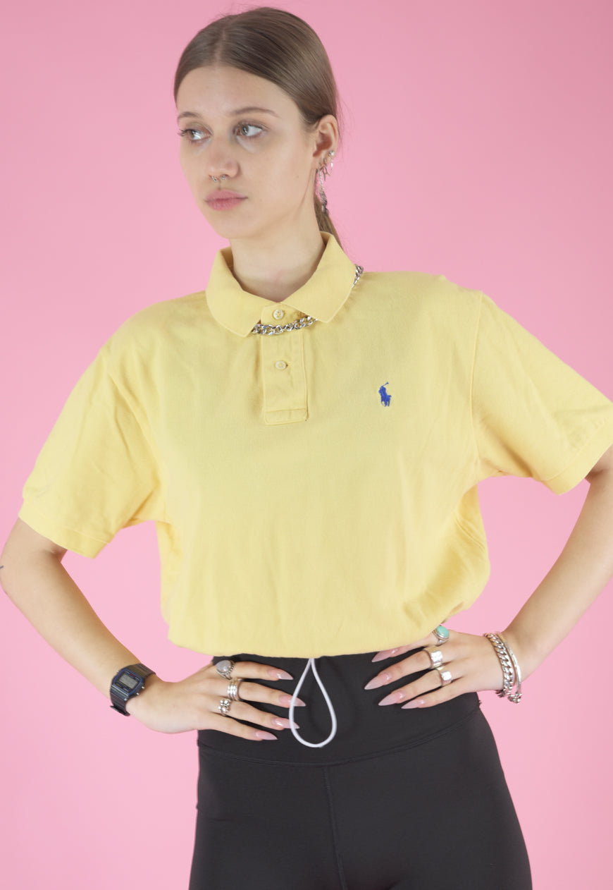 Vintage Reworked Ralph Lauren Crop Top Polo Shirt in Yellow in M