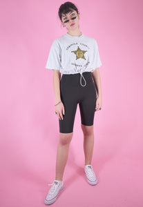 Vintage Reworked Cropped T-Shirt in Light Grey with Sheriffs Office Print in M