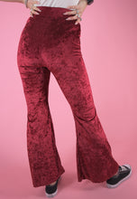 Load image into Gallery viewer, Vintage Inspired Flares Trousers in Stretchy Red Velvet in S/M
