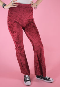 Vintage Inspired Flares Trousers in Stretchy Red Velvet in S/M