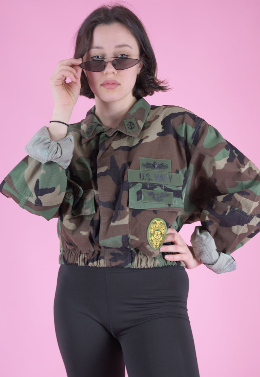 Vintage Reworked Army Jacket in Camo Print with Patches in M/L